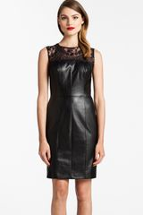 Cynthia Steffe Illusion Yoke Faux Leather Dress - Lyst