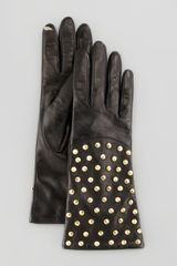 Diane Von Furstenberg Studded Leather Connect Gloves - Lyst