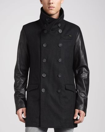 Diesel Rondel Mixed Fabric Coat Black - Lyst