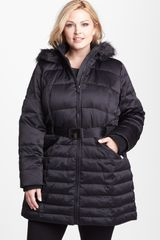 DKNY Hooded Down Feather Coat - Lyst