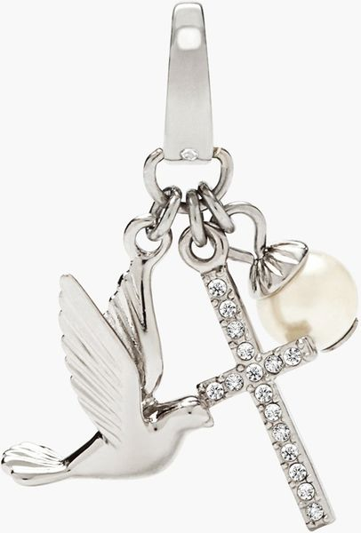 Fossil Dove Cross Charm In Silver Silver Clear Crystal