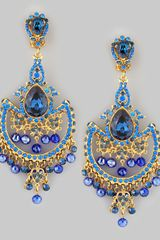 Jose & Maria Barrera Draped Crystal Chandelier Clip Earrings Blue - Lyst