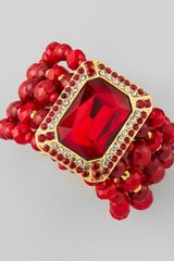 Jose & Maria Barrera Beaded Ornamental Bracelet Red - Lyst