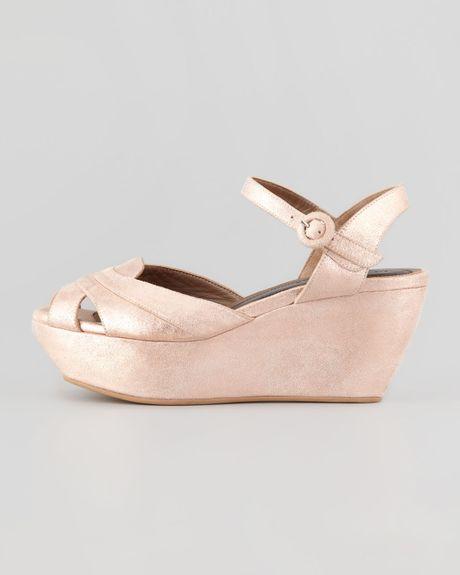 marni metallic leather platform wedge sandal light pink in