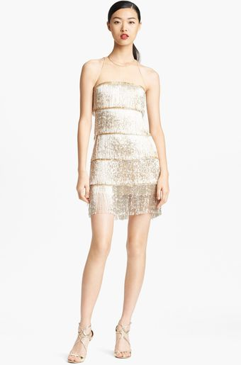 Naeem Khan Hand Beaded Fringe Cocktail Dress - Lyst
