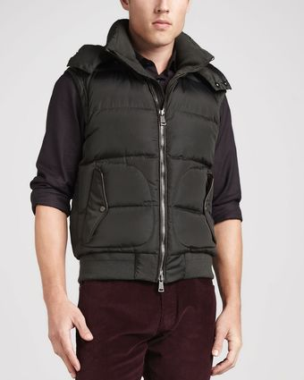 Ralph Lauren Black Label Quilted Down Hooded Vest Spruce - Lyst