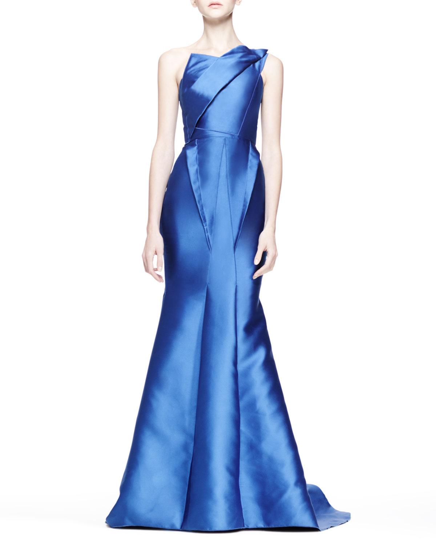 Lyst - Roland Mouret Orpheus Folded Oneshoulder Gown in Blue