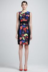 St. John Collection Stretch Silk Sleeveless Dress with Ikat Floral Print Panel Caviarmulti - Lyst