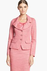 St. John Collection Damier Knit Fitted Jacket - Lyst