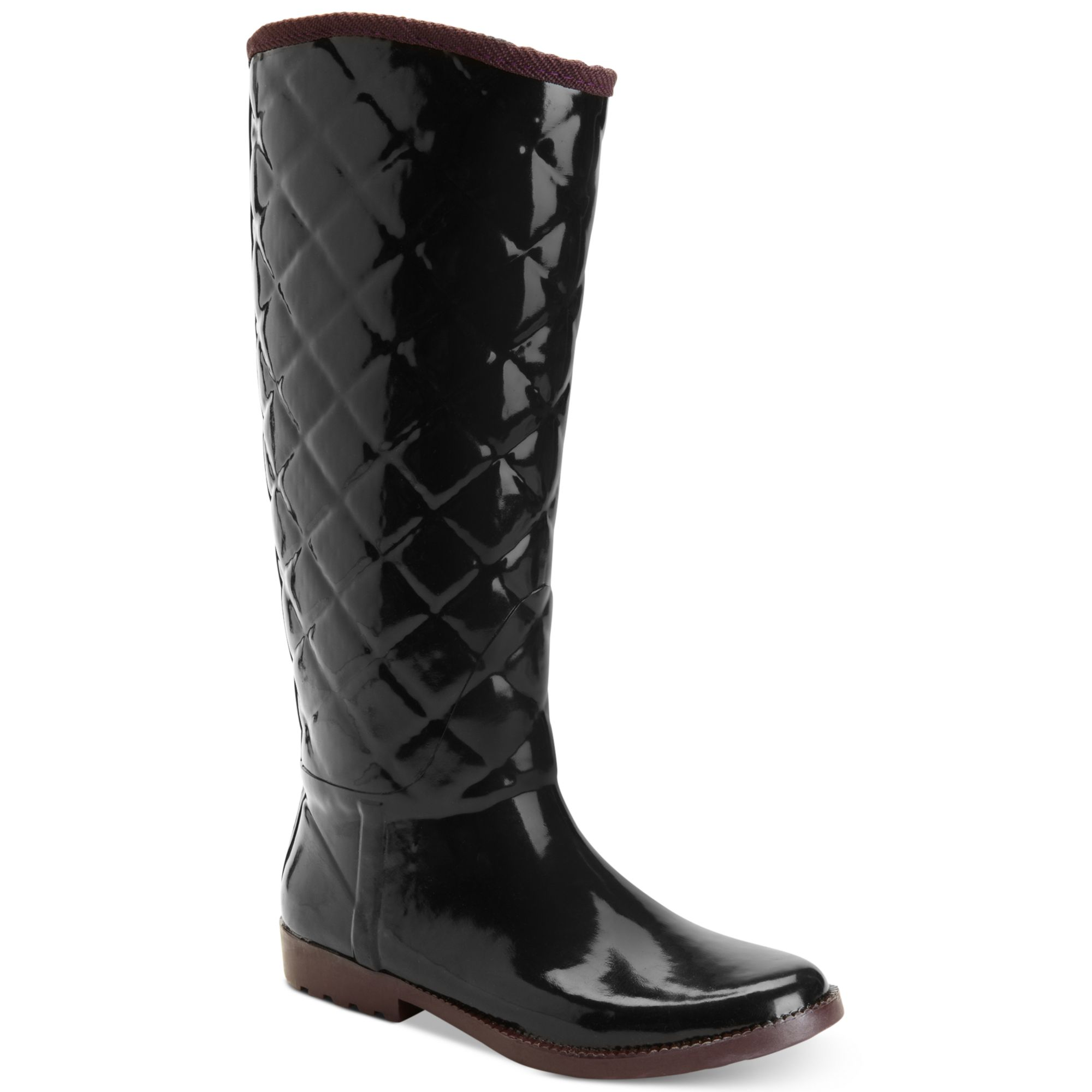 tommy hilfiger vintage tall tufted rain boots in black lyst. Black Bedroom Furniture Sets. Home Design Ideas