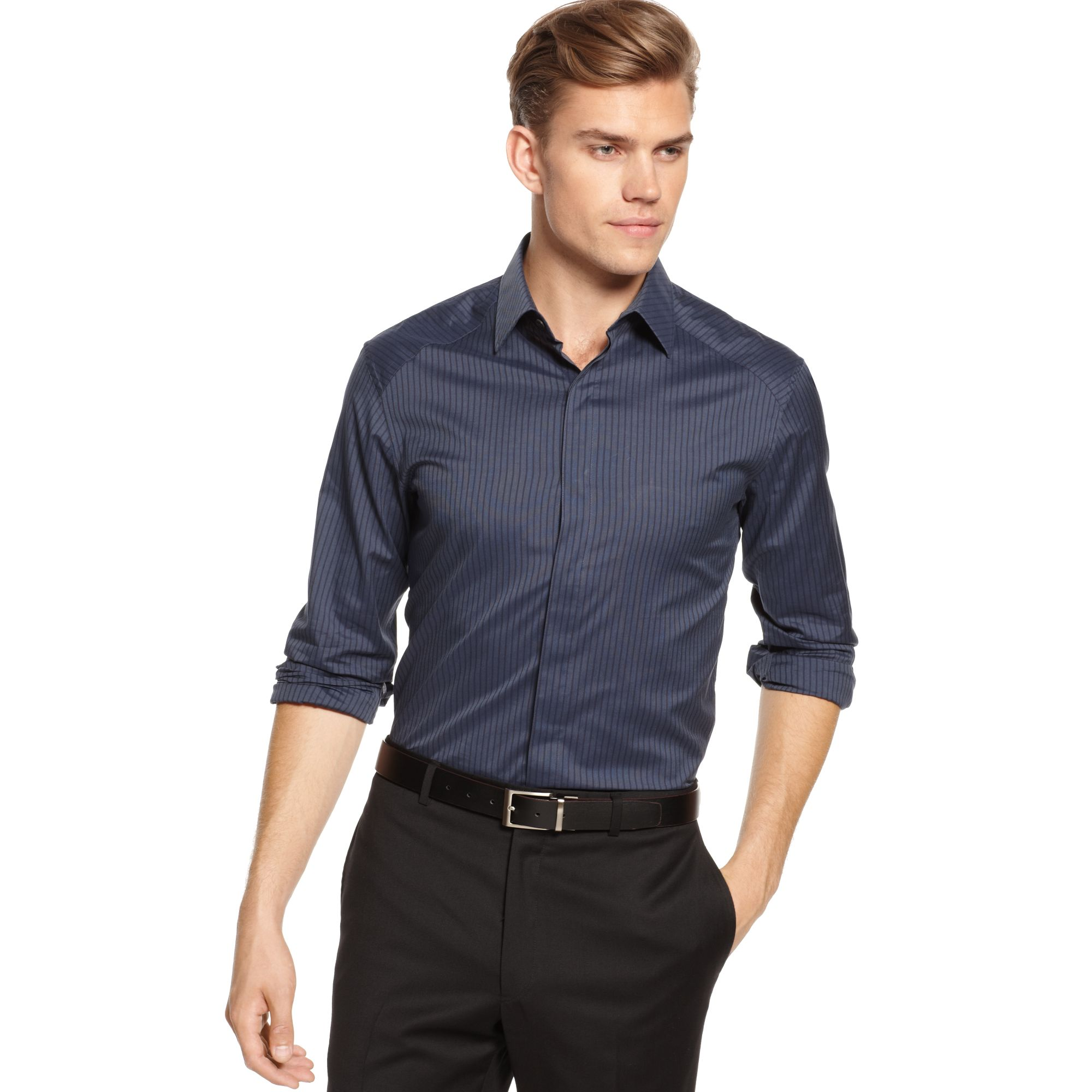 Lyst Vince Camuto Covered Placket Dress Shirt In Blue
