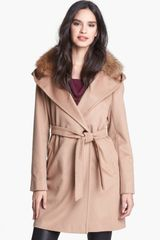 Weekend By Maxmara Falla Genuine Fox Fur Trim Belted Coat - Lyst