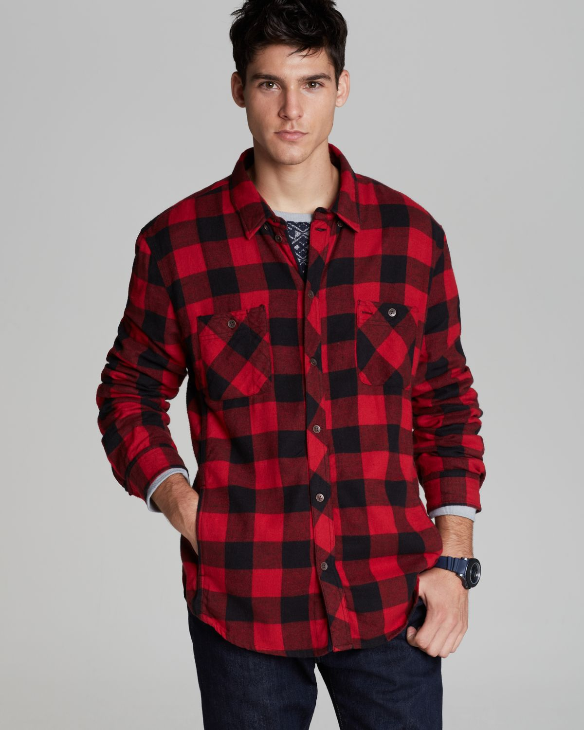 Alternative apparel Timbers Buffalo Check Sport Shirt Classic Fit ...