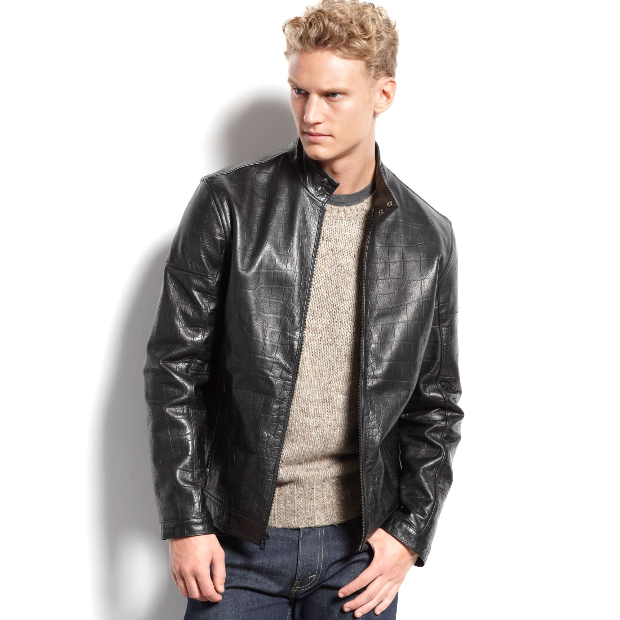dd72de3e35b3 Lyst - Calvin Klein Mens Leather Moto Jacket in Black for Men