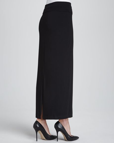 eileen fisher jersey maxi pencil skirt in black lyst