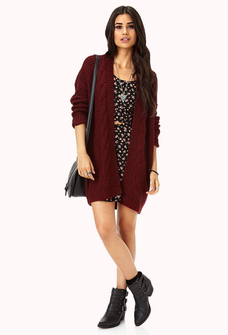 Forever 21 Longline Mixed Knit Cardigan in Purple | Lyst