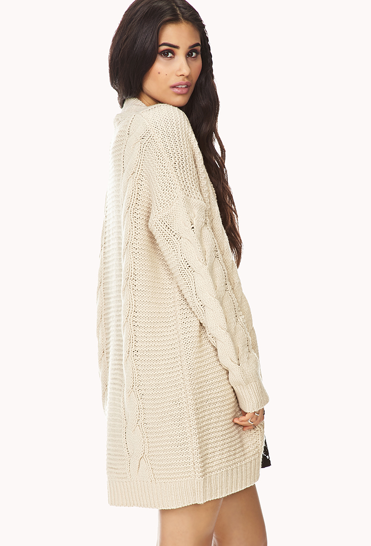 Forever 21 Longline Mixed Knit Cardigan in Natural | Lyst
