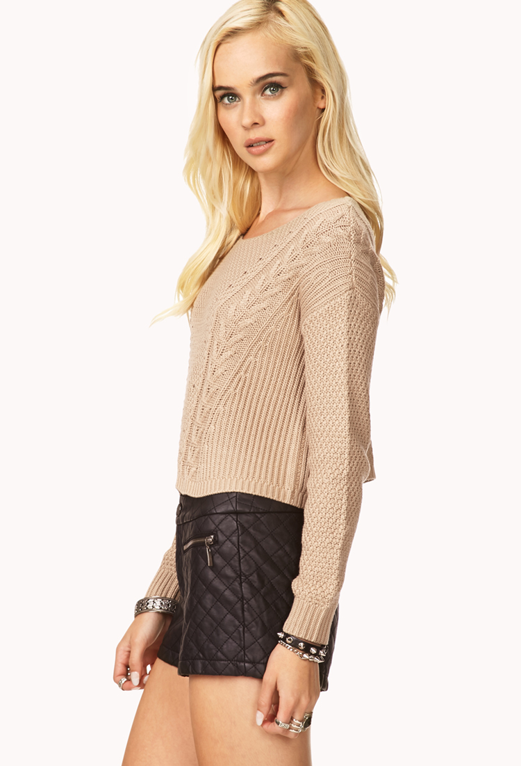 Forever 21 Favorite Cable Cropped Sweater in Natural | Lyst