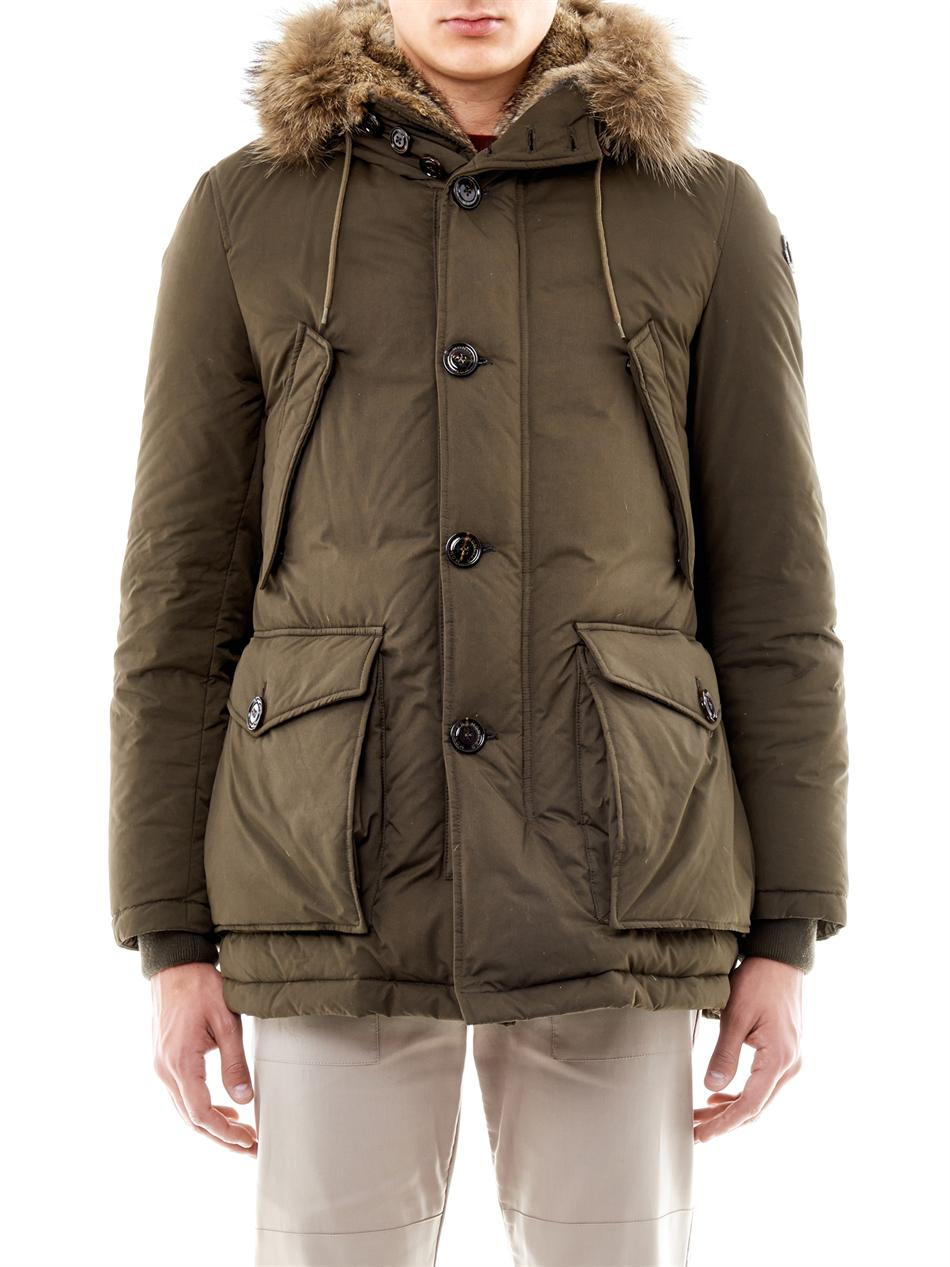 Moncler Chateaubriant Fur Lined Down Jacket in Natural | Lyst