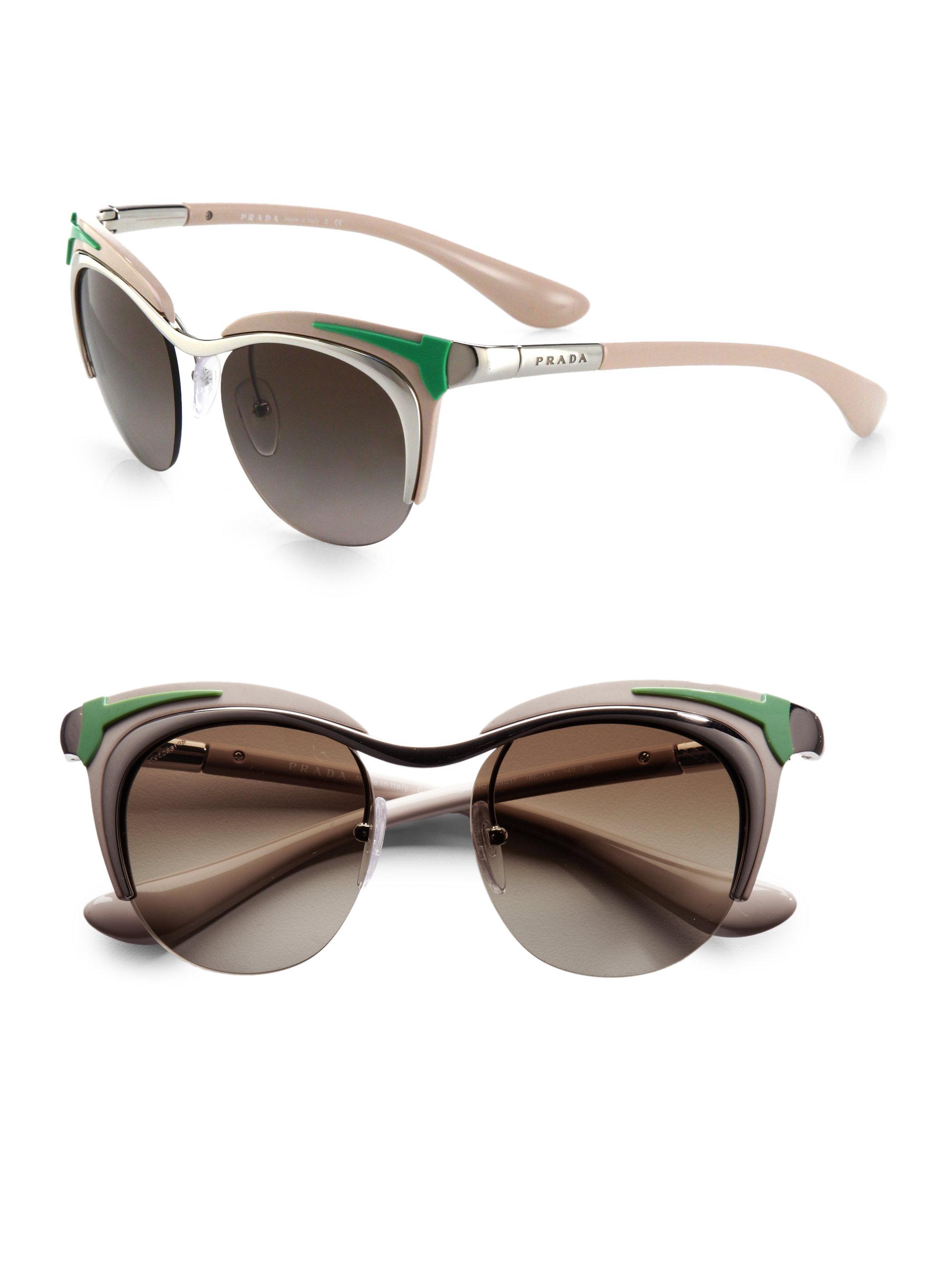 28c87813d9 ... ireland lyst prada round retro car acetate metal sunglasses in metallic  1901f d51e7