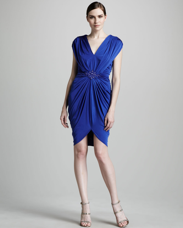 Tadashi shoji Jersey Grecian Cocktail Dress in Blue - Lyst