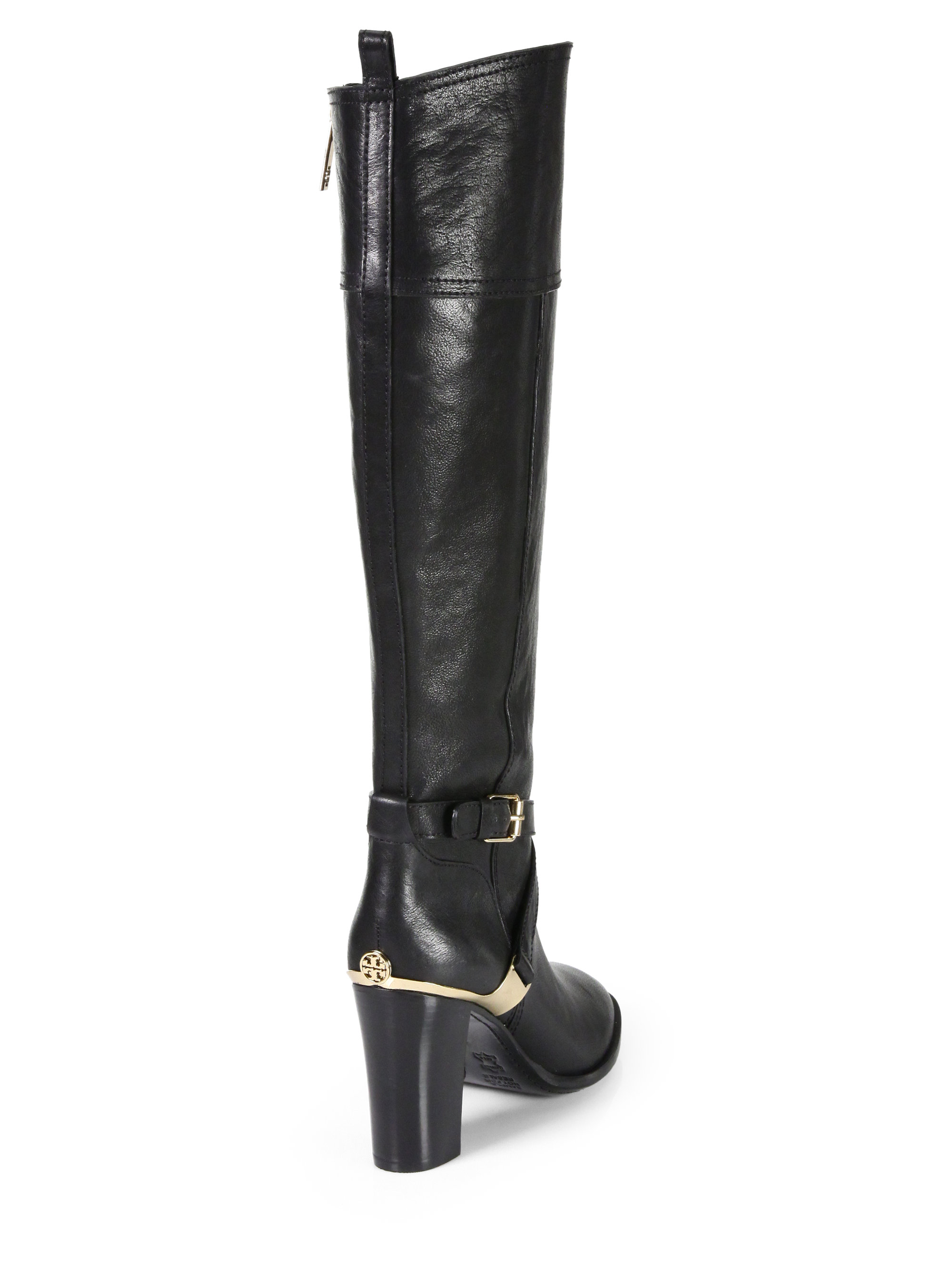 279883c6c016d3 Lyst - Tory Burch Livingston Leather Riding Boots in Black