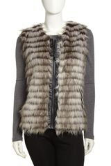 Via Spiga Tiered Fauxfur Zip Vest Light Gray - Lyst