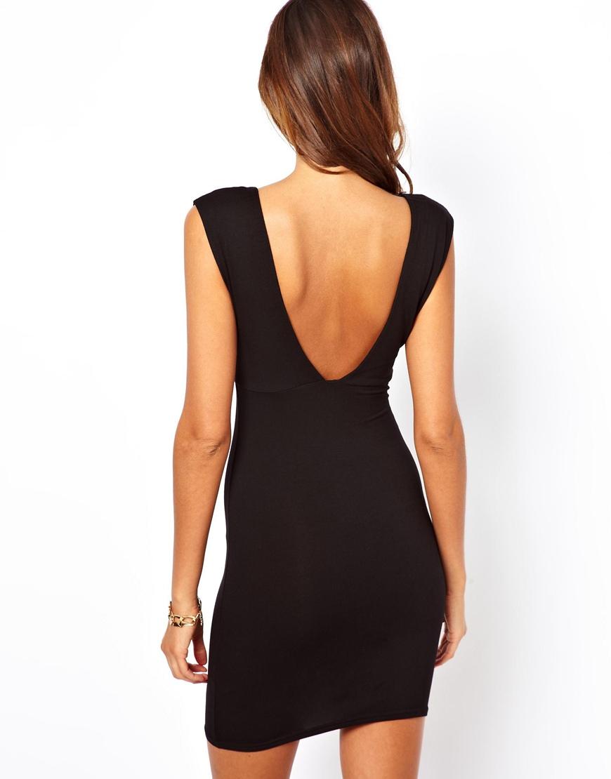 Lyst Asos Deep V Plunge Mini Dress In Black