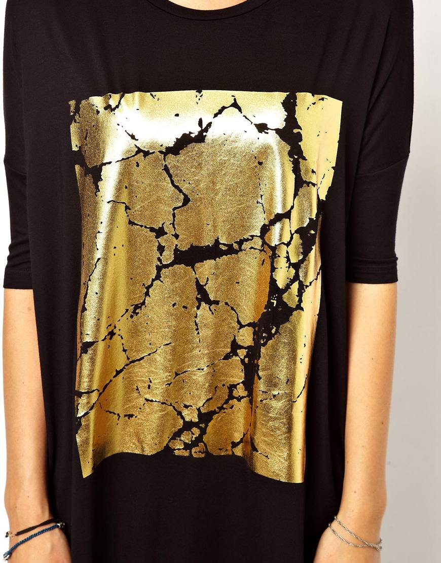 Asos t shirt dress with cracked foil print in metallic lyst for Foil print t shirts custom
