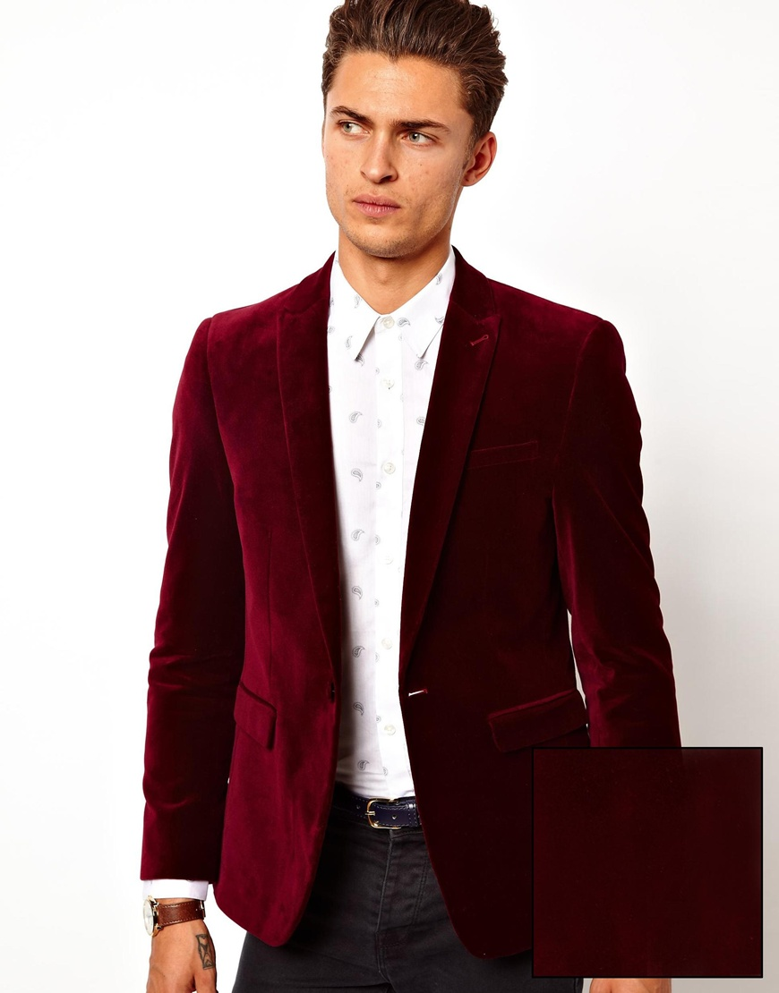 Asos Slim Fit Blazer In Velvet in Red for Men | Lyst