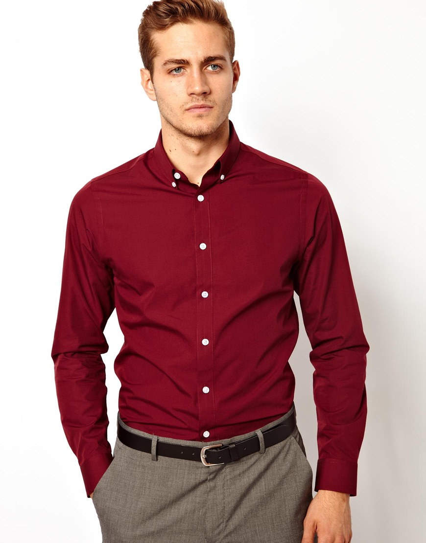 Asos Smart Shirt in Long Sleeve with Button Down Collar in Red for ...