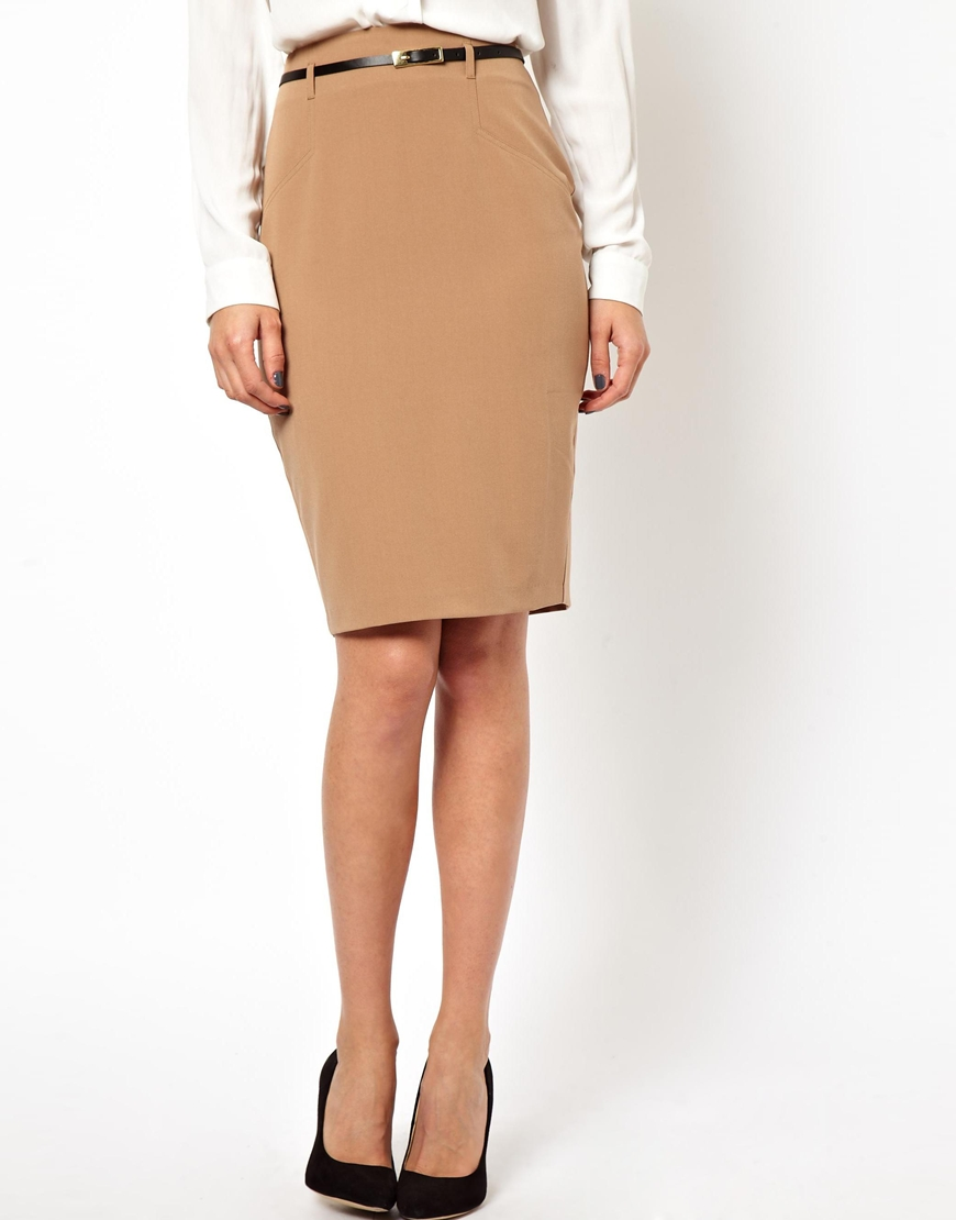 Asos Belted Pencil Skirt in Natural | Lyst