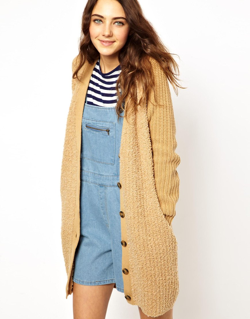 Asos Long Cardigan With Teddy Fur Front in Brown | Lyst