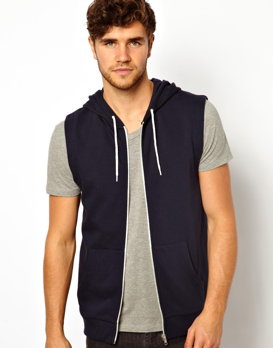 Asos Sleeveless Hoodie In Blue For Men Lyst