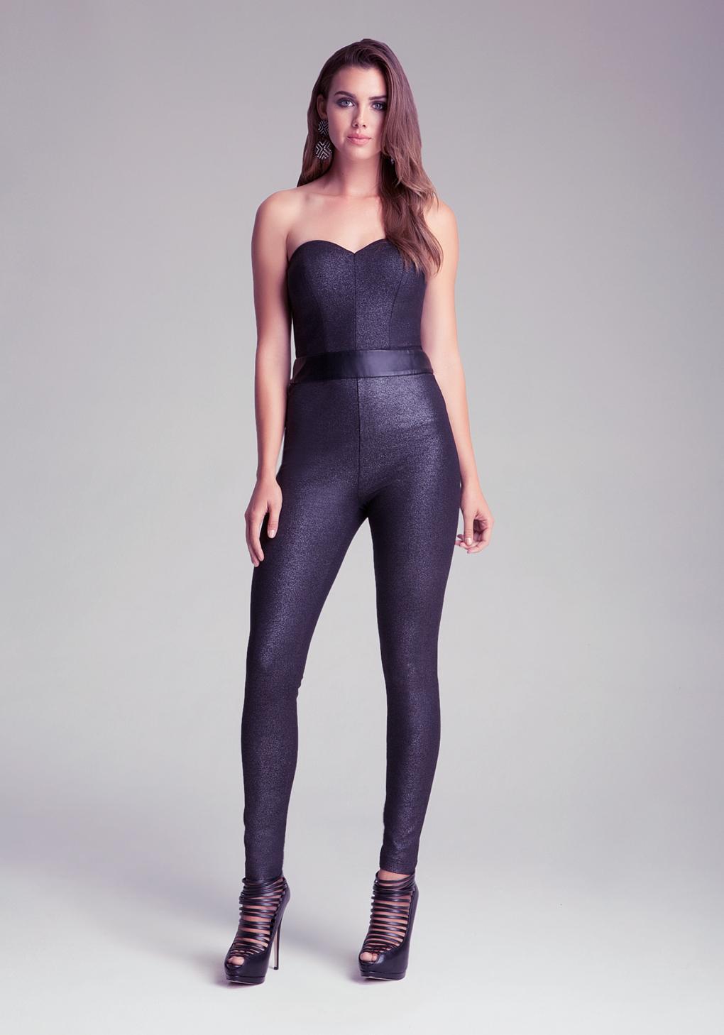 Lyst Bebe Sweetheart Tie Back Jumpsuit In Black