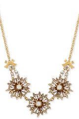 Betsey Johnson Goldtone Crystal Flower Frontal Necklace - Lyst