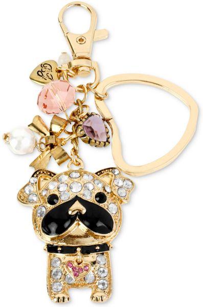 Betsey Johnson Goldtone Sparkle Bull Dog Dangling Key