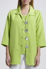 Caroline Rose Shantung Big-button Shirt - Lyst