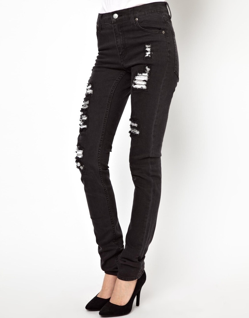 cheap monday ripped skinny jeans in blue jltblack lyst. Black Bedroom Furniture Sets. Home Design Ideas