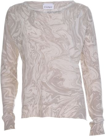 Crumpet Cashmere Evie Jumper White and Grey Marble - Lyst