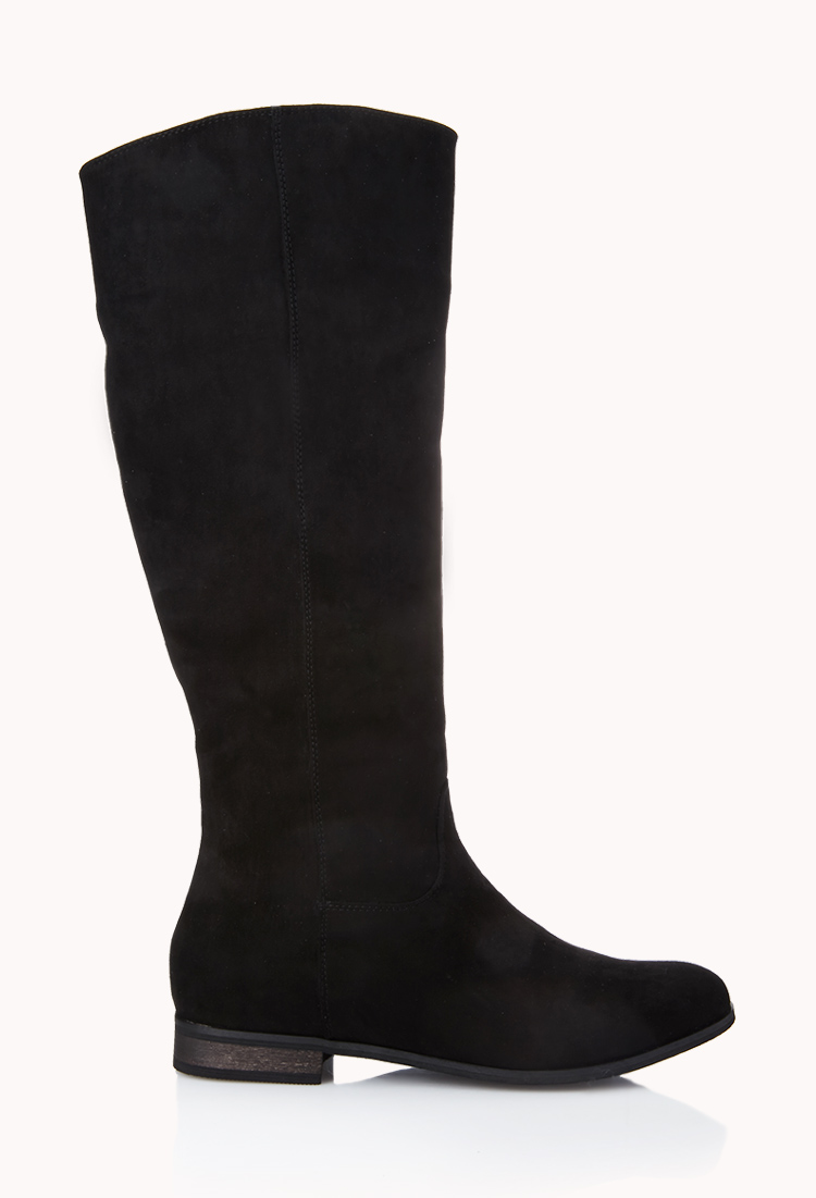 forever 21 classic faux suede boots in black lyst