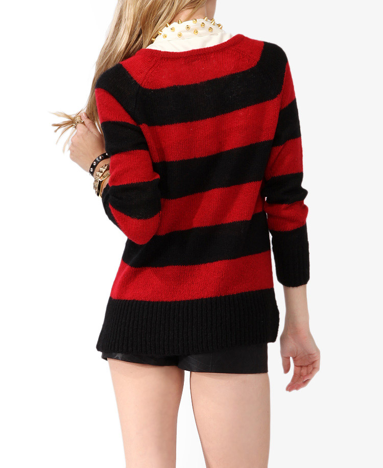 Forever 21 Rugby Striped Raglan Sweater in Red | Lyst