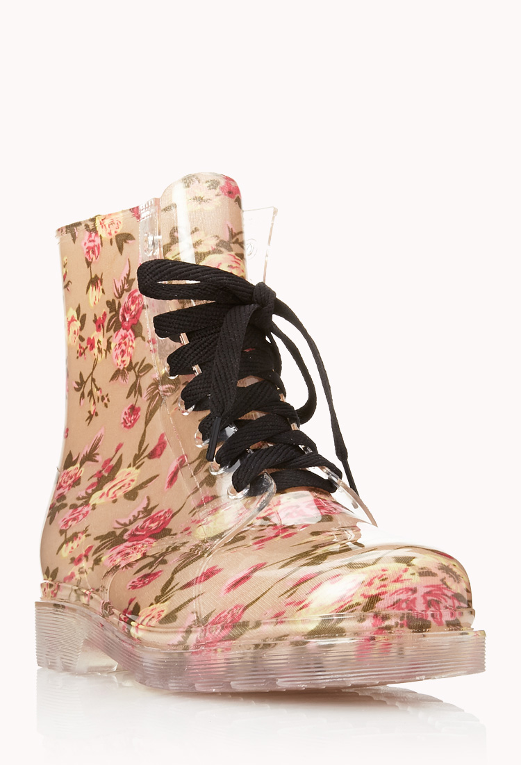 Lyst Forever 21 Clear Cut Floral Boots In Pink