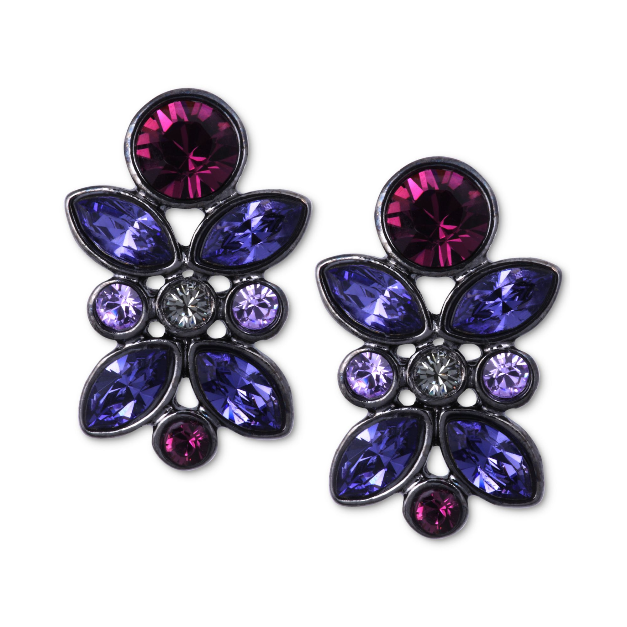 diamond rose and content stud earrings moon cut tanzanite stone with