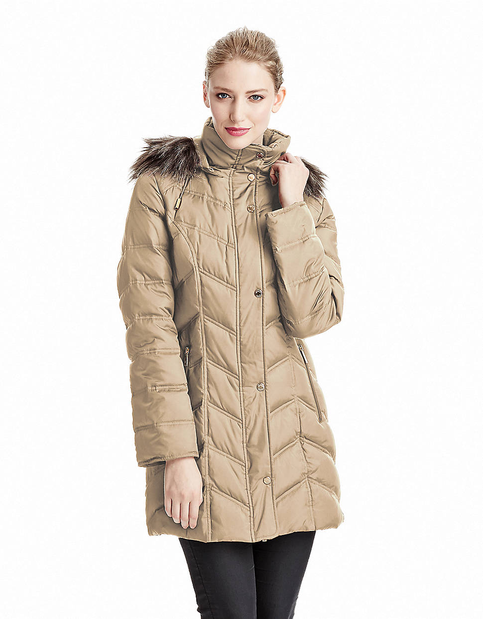 Kenneth cole Chevron Quilted Coat in Brown | Lyst : kenneth cole chevron quilted coat - Adamdwight.com