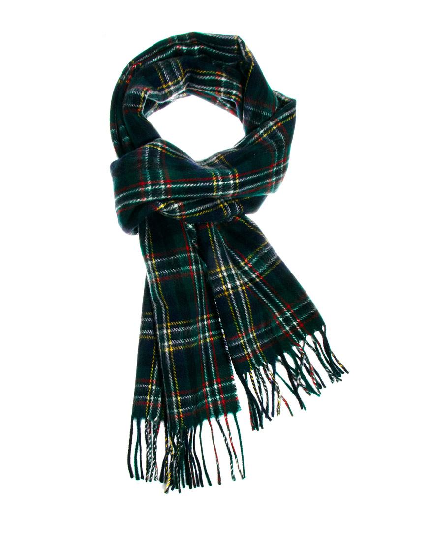 lyle lyle tartan scarf in green for lyst