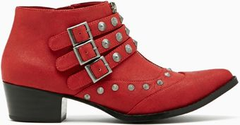 Nasty Gal Cult Brix Stud Ankle Boot Red - Lyst