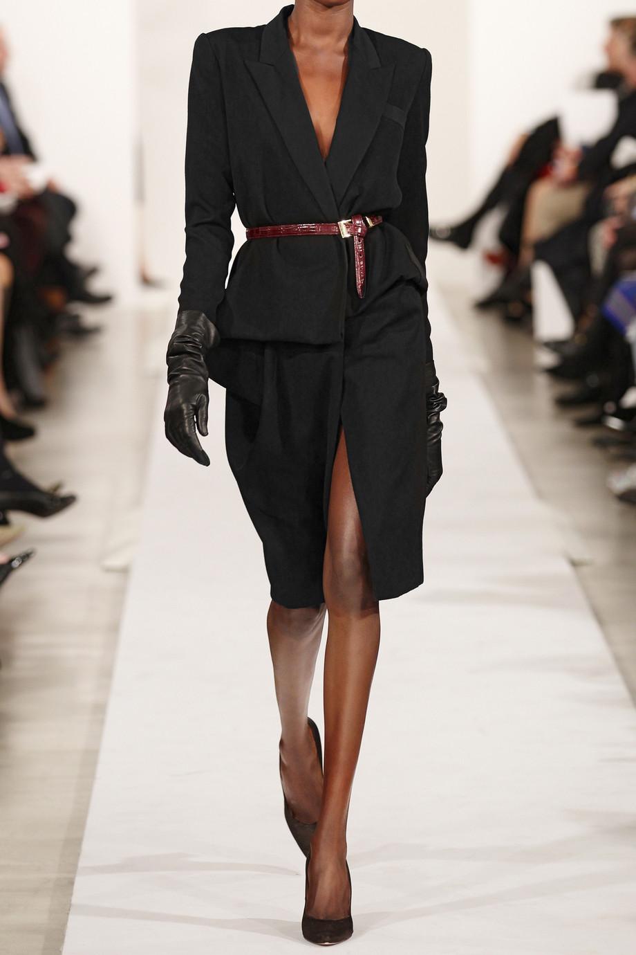 Lyst Oscar De La Renta Wool Wrap Suit Dress In Black