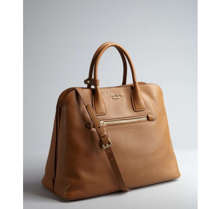 c50bb442c22647 ... official lyst prada caramel saffiano leather zip top handle bag in  brown b6c35 7fcf5