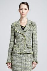St. John Collection Layered Leaves Tweed Jacket Chartreuse - Lyst